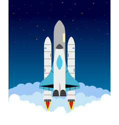 starting shuttle clouds stars shuttle and rocket vector image
