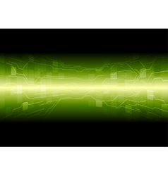 Tech green background with circuit board lines vector image vector image