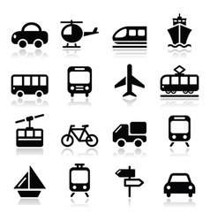 Transport travel icons set isoalted vector image vector image