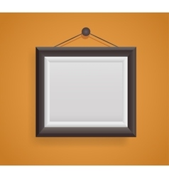 blank picture frame template hanging on orange vector image vector image