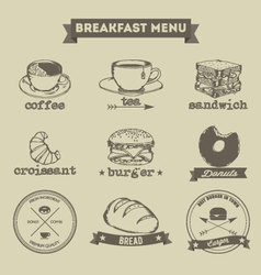 Breakfast Menu Hand Drawing Style vector image vector image