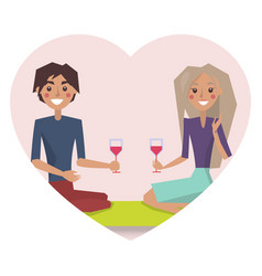 couple drinking wine poster vector image