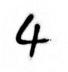 Graffiti sprayed number 4 four in black on white vector