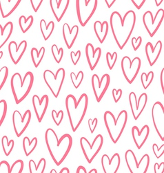 Hand drawn doodled hearts seamless pattern vector