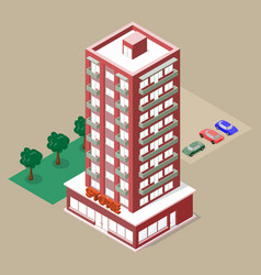 isometric multistory building with store and vector image