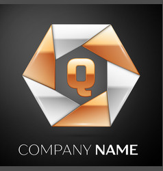 letter q logo symbol in the colorful hexagon on vector image vector image