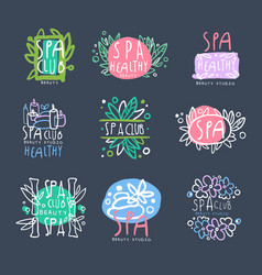 spa club beauty studio logo set badge for vector image