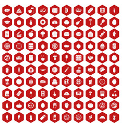 100 nutrition icons hexagon red vector