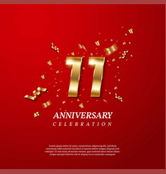 11th anniversary celebration golden number 11 vector