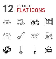 12 farming icons vector image