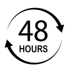 48 hours on white background flat style 48 hours vector