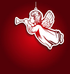 Angel flies and plays trumpet decoration vector
