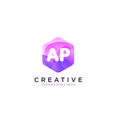 Ap initial logo with colorful hexagon modern vector