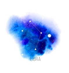Astrology sign Libra on blue watercolor background vector image