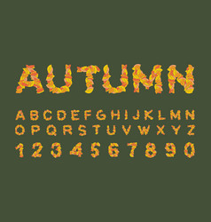 autumn font yellow leaves of alphabet autumnal vector image