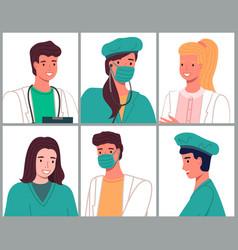 avatars characters doctors and nurses set medical vector image
