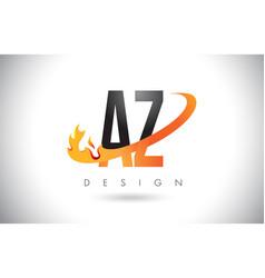 Az a z letter logo with fire flames design vector