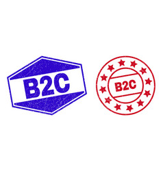 B2c unclean seals in round and hexagon forms vector