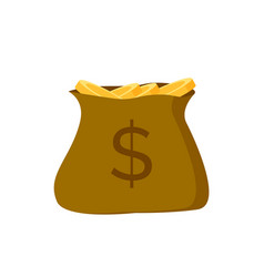 bag gold coins with dollar sign isolated vector image