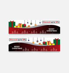 banner christmas sale set design eleme vector image