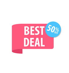 best deal label isolated on white red color vector image