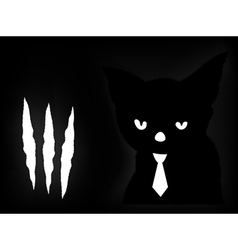 Black cat in a dark room vector