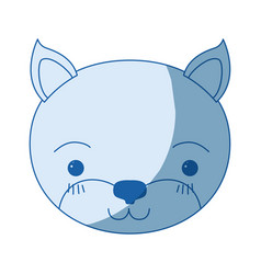 blue color shading silhouette cute face of kitten vector image