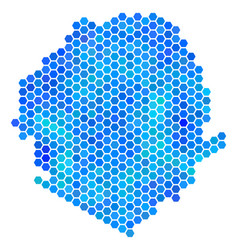 Blue hexagon sierra leone map vector