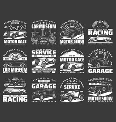 Car service and racing icons motor rally repair vector