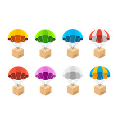 cartoon color different parachute with box icons vector image