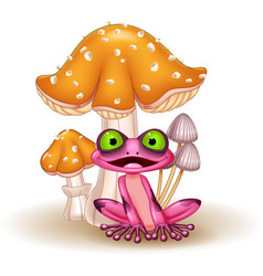 cartoon funny frog with mushrooms vector image