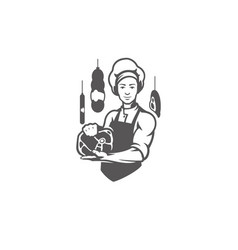 Chef man holding meat steak silhouette vector