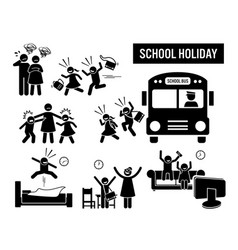 Children school holiday stick figure pictogram vector