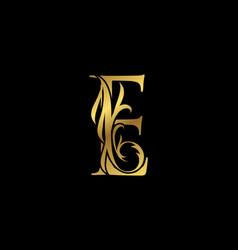 Classy elegant gold e letter floral logo vintage vector