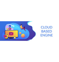 Cloud based engine concept banner header vector