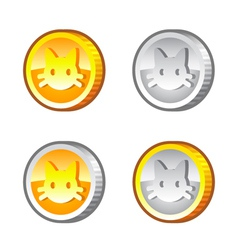 Coins with cat face vector