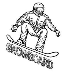 Contour drawing depicting a snowboarder athlete vector