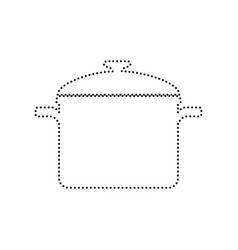 Cooking pan sign black dotted icon on vector