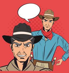 Cowboy man cartoon bubble design vector