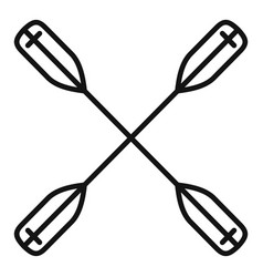Crossed kayak paddle icon outline style vector