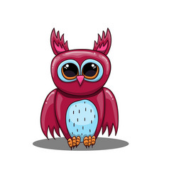 cute fantastic owl in cartoon style vector image