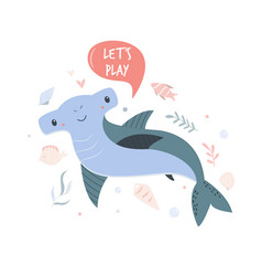 cute shark design poster with adorable character vector image
