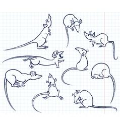 Doodle rats vector