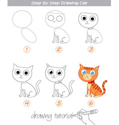 drawing tutorial step by step drawing cat vector image