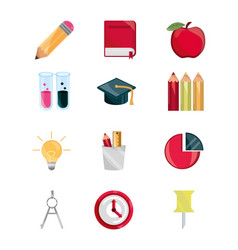 Education supply study school stationery icons set vector