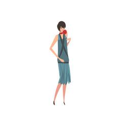 elegant brunette woman in blue retro dress vector image