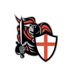 English knight with sword england shield retro vector