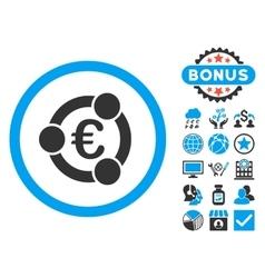 Euro Collaboration Flat Icon with Bonus vector