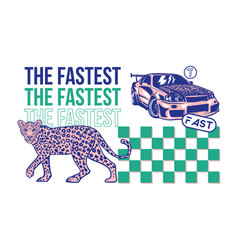 Fast sport car and leopard print vector