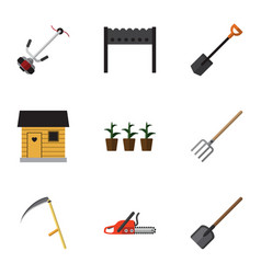 Flat icon garden set of shovel stabling barbecue vector